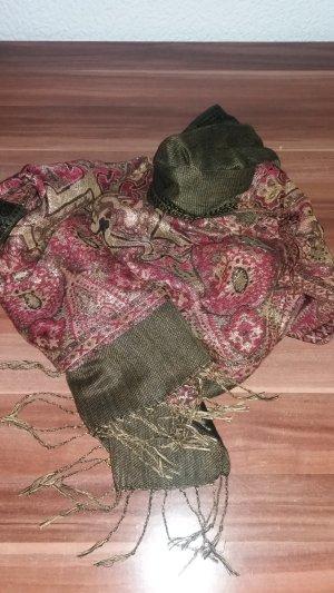 Schal aus Baumwolle in Grün mit gewebtem Glitzer