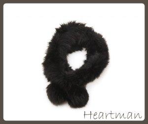 Schal aus Fell (Kanninchen) Schwarz