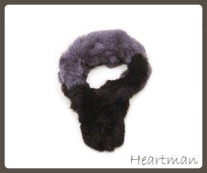 Schal aus Fell (Kanninchen) Schwarz/Grau