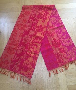 Bufanda de lana rojo frambuesa-naranja