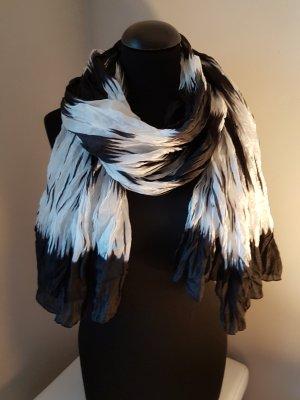 Bufanda de seda blanco-negro Seda