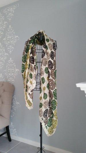 Silk Scarf cream-forest green silk