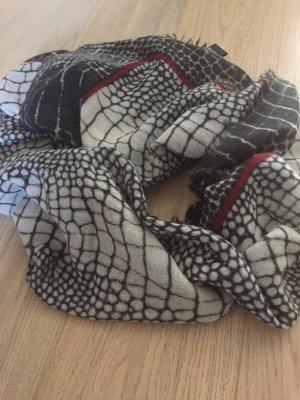 Bufanda de lana gris claro-negro