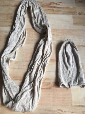 Barts Bufanda tubo beige claro-blanco puro