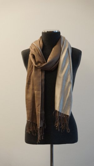 Pashmina beige-bronze-colored silk