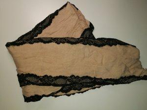 Schal Beige mit schwarzer Spitze