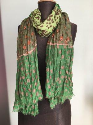 Schal Blumen Leoparden Muster grün-pink-braun