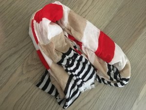 Stradivarius Fringed Scarf red-cream
