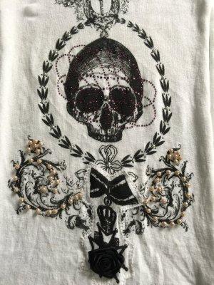 Schal Codello Totenkopf mit Steinen und Perlen besetzt weiß