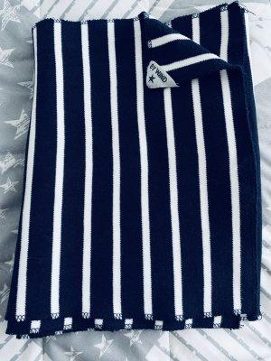 Wind Gebreide sjaal wit-donkerblauw