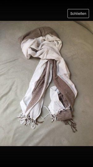 Foulard blanc-marron clair