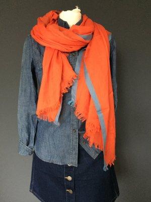 Schal Gant Orange Blau Seide