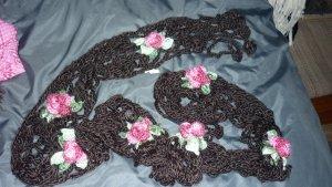 Crochet Scarf black brown-pink