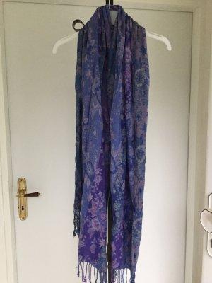 Schal, gemustert in blau und lila