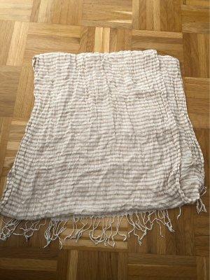 Schal, gestreift, weiß, beige