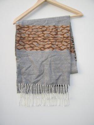 Vintage Bufanda de flecos gris