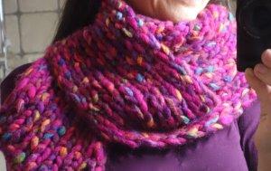 Schal, große Maschen, grober Strick, tolle Farbe, fuchsia, pink, handgefertigt