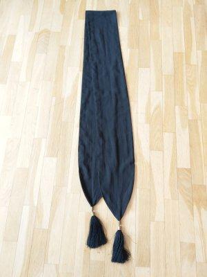 Schal Gürtel schwarz mit Quasten