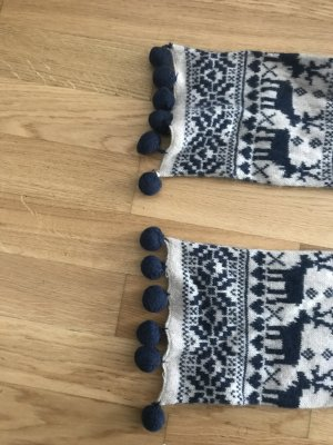 Knitted Scarf white-dark blue
