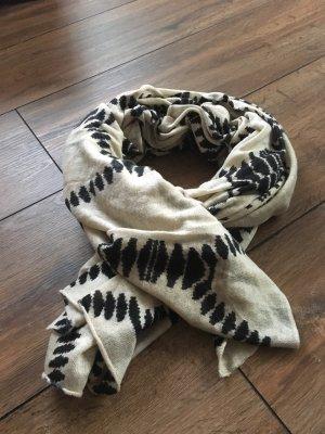 Schal in beige mit schwarzen Muster