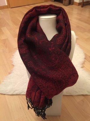 Schal in gedecktem rot-schwarz