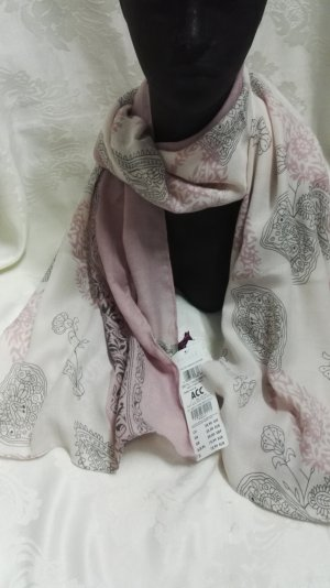 Cartoon Pashmina crema-rosa