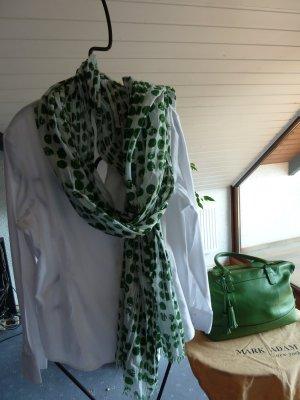 Schal in weiß mit grünen Punkten