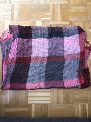Schal, kariert, rosa, grau