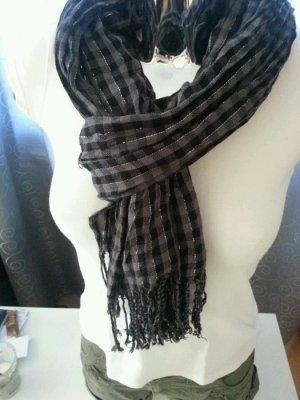 Schal kariert schwarz grau silber Feinstrick