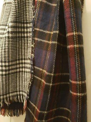 Schal lang warm schwarz weiß kariert