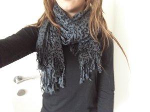 Sjaal met franjes zwart-donkergrijs