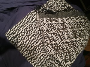 H&M Bufanda de flecos blanco-negro