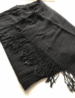 Bufanda de flecos negro-color plata
