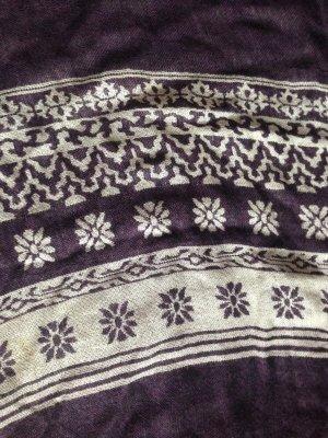 Schal mit Fransen in Lila und weiß