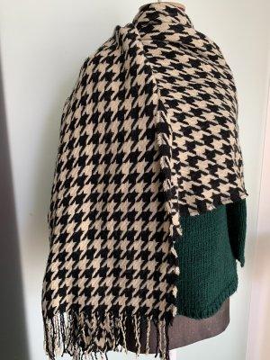 Schal mit Fransen schwarz-beige
