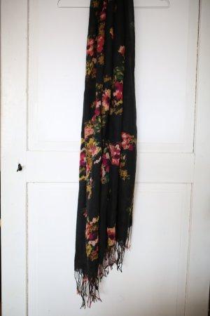 Schal mit Fransen und Blumenmuster