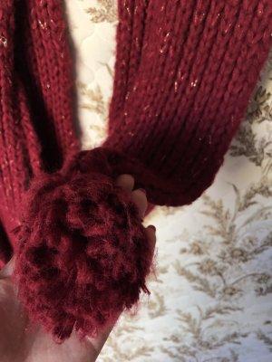 Boule Écharpe en tricot doré-rouge carmin