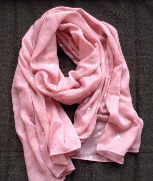 Schal mit silbernen Hirschen in Pink