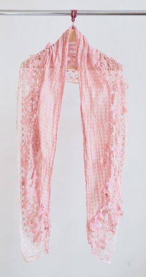 Schal mit Spitze - rosé