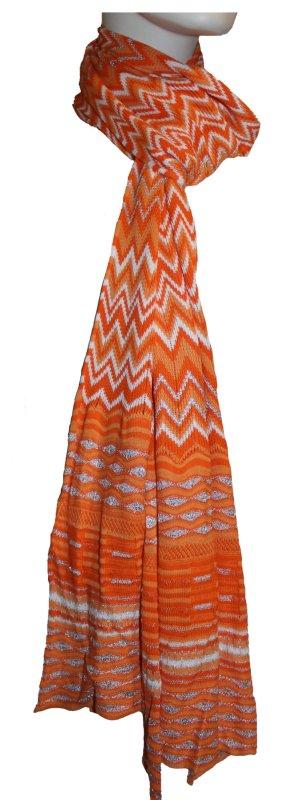 Schal, orange, mit silbernen Glitzerfäden, 28 x 200 cm
