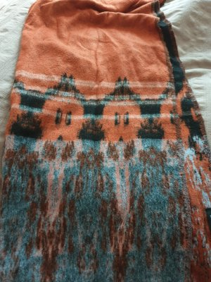 Zara Sciarpa di lana nero-arancione scuro