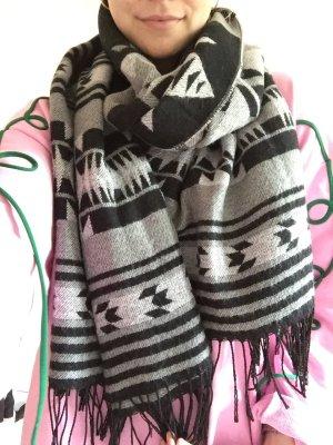 Schal oversized schwarz/grau kuschelig Azteken Muster