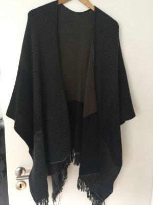Schal/Poncho schwarz/grau/grün