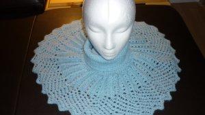 Bufanda de punto azul celeste Lana