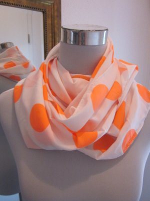 Schal Rundhals Tuch weiss Neon Orange Neu Gepunktet