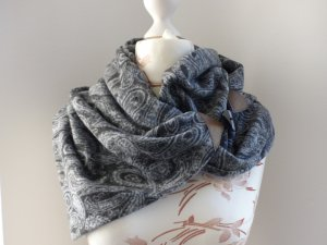 Schal, Rundschal blau - neu und selbstgenäht