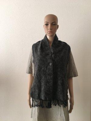 Schal schalkragen Weste praktisch warm zum drunterziehen statt Weste grau Anthrazit wolle kuschelig warm winter