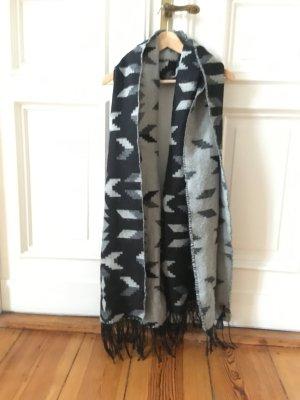 Schal Schwarz Grau Muster