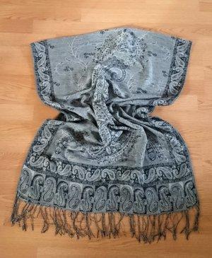 Schal schwarz grau weiß Paisley mit Fransen