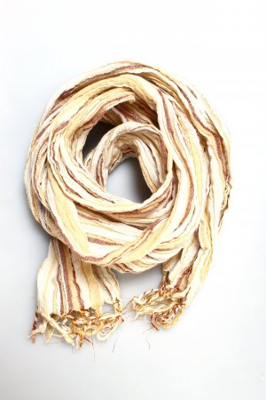 Schal Sommer Streifen metallic braun beige creme gold bronze festival boho hippie